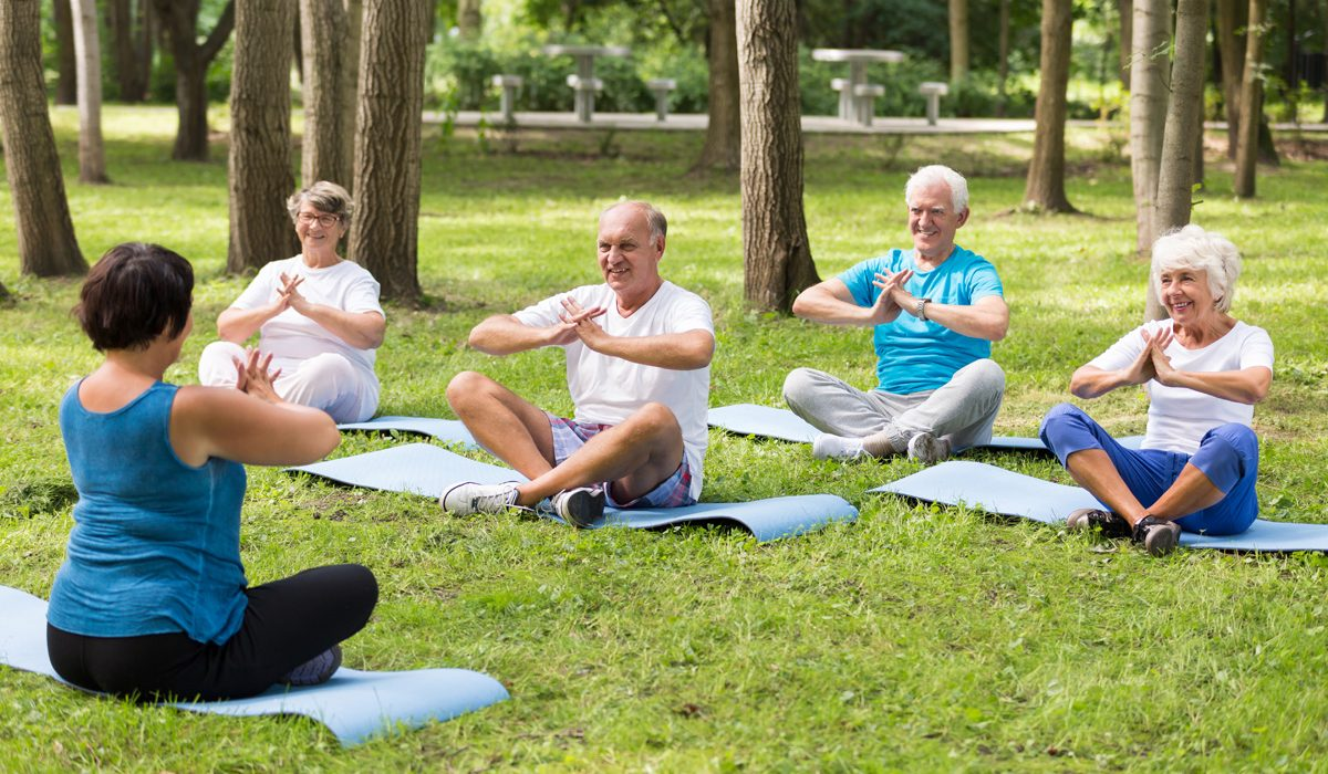 Shot of a group of elderly people sitting on mats in a park and exercising