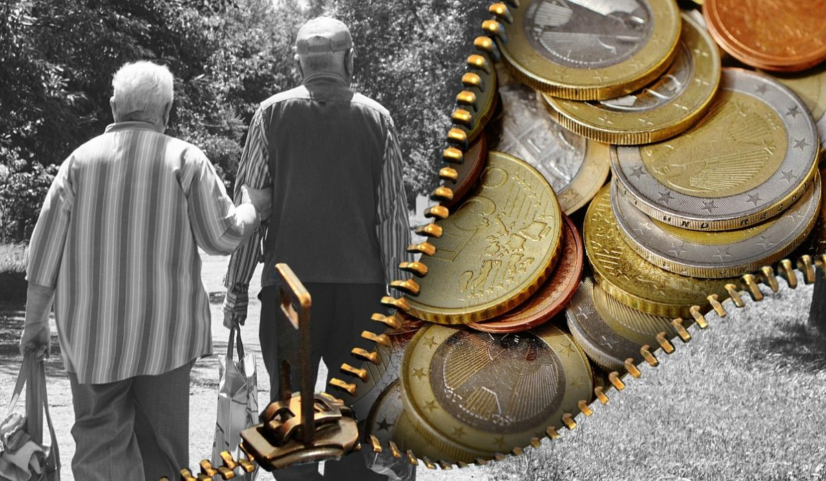 Old people on one part, money, coins on the other part