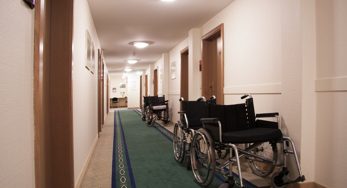 Empty wheelchairs in a hallway