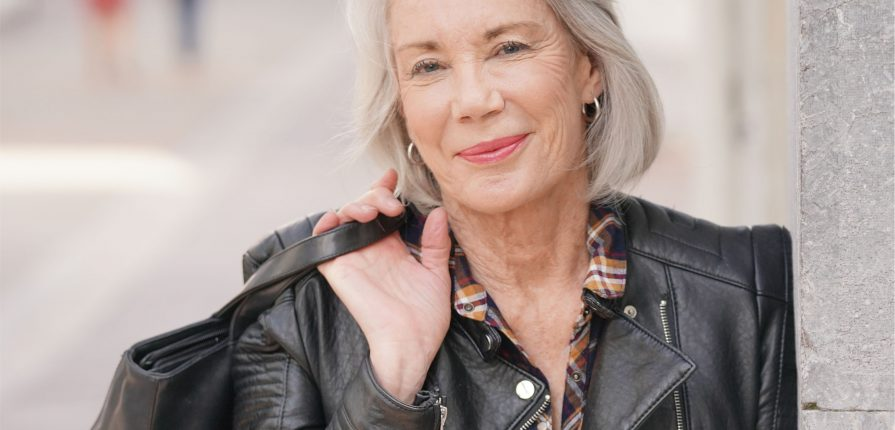 grey haired woman fashion