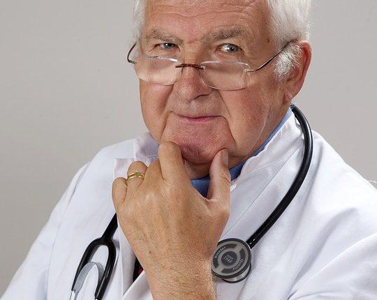 Elderly doctor working part-time in retirement