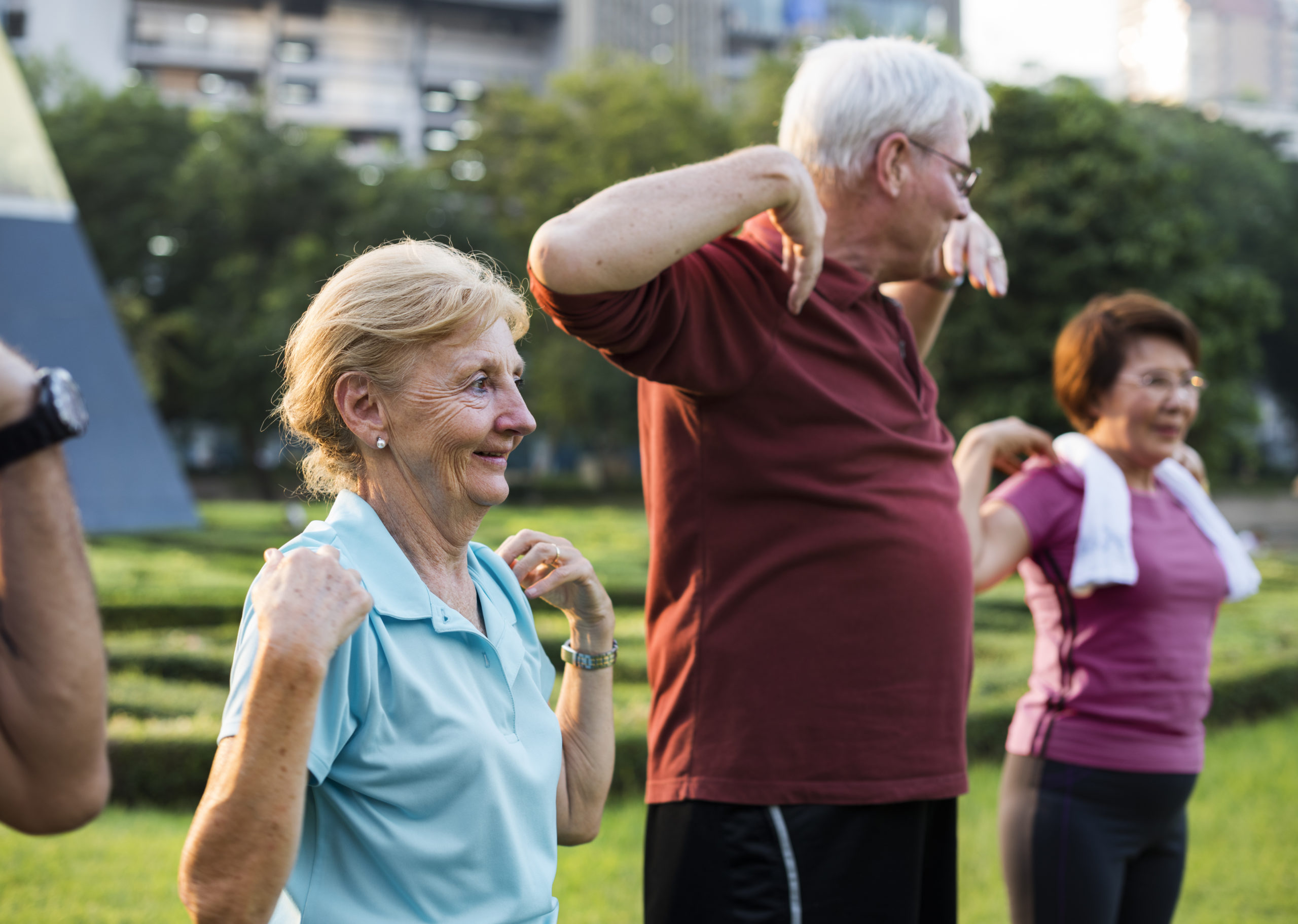 mature adults exercising in park