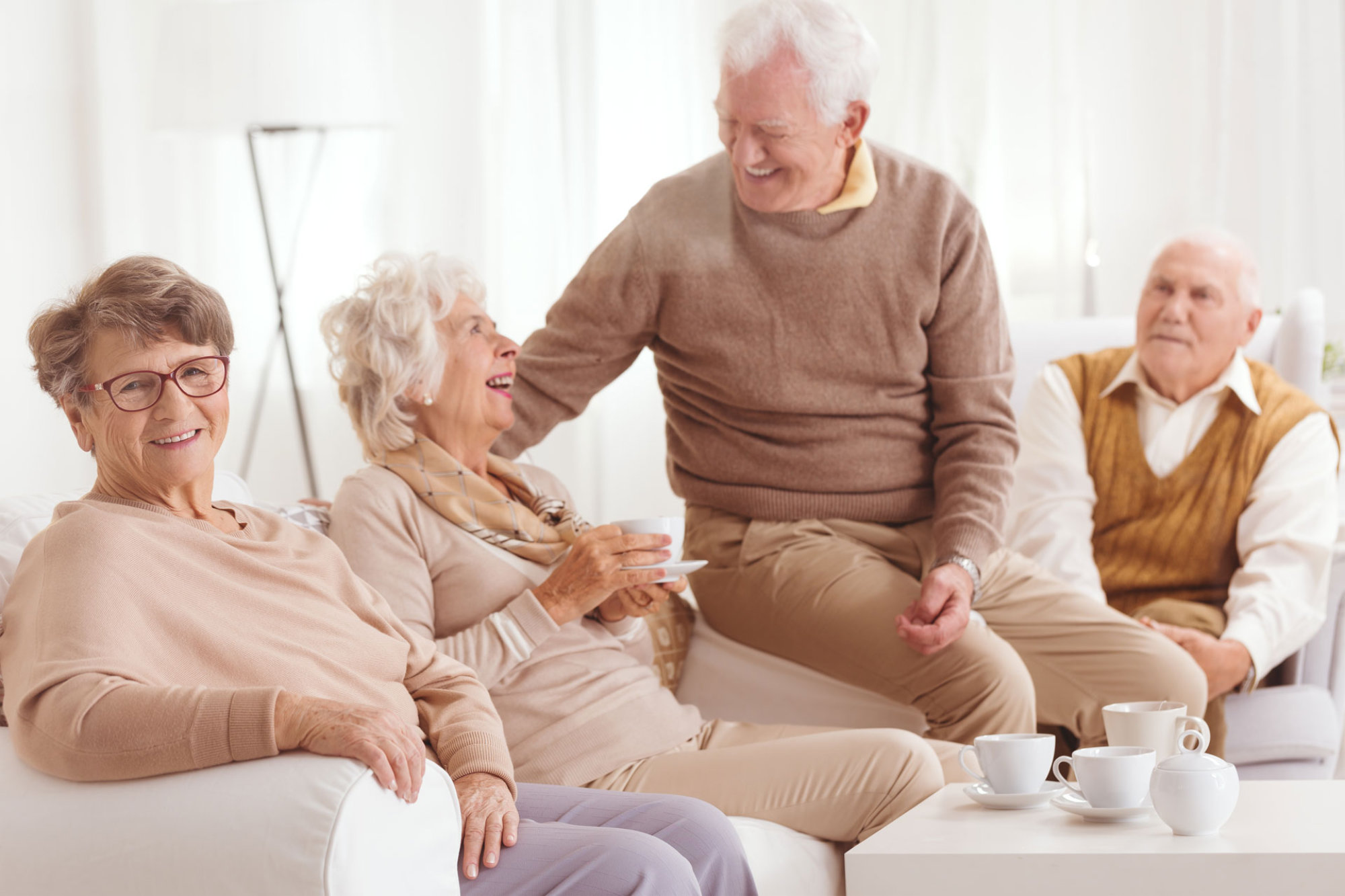 mature seniors sitting in room together