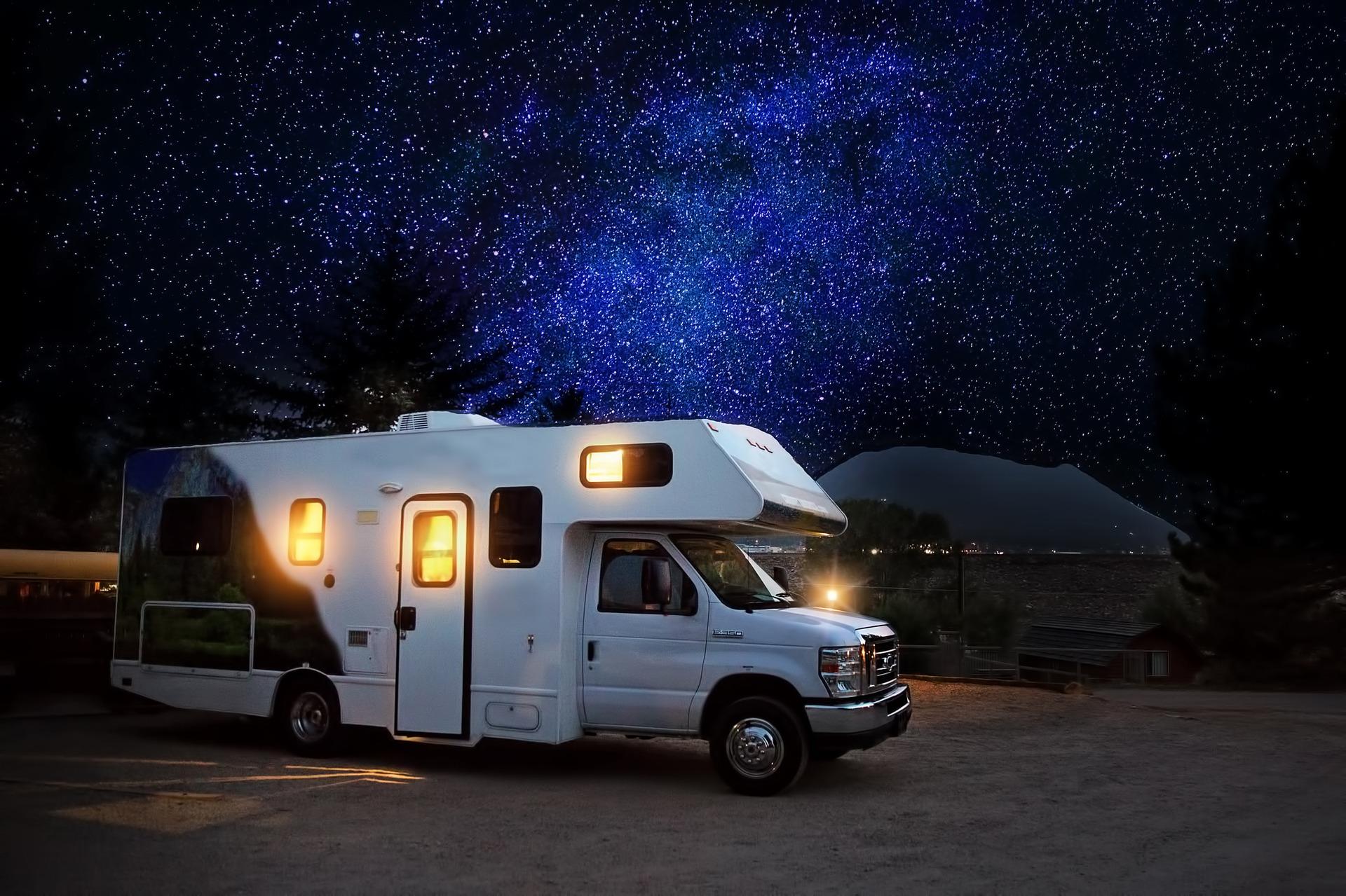 RV camper under the night stars