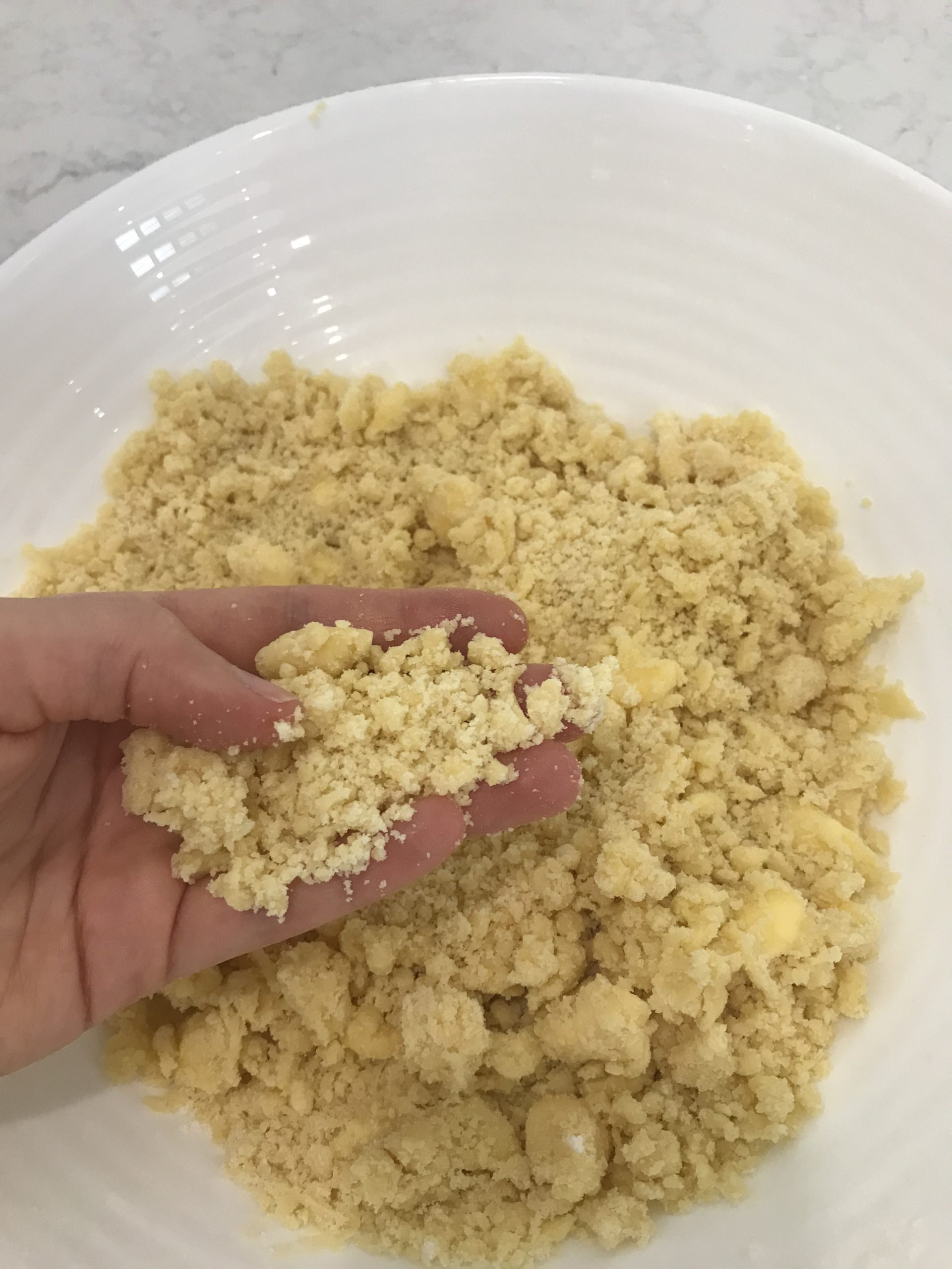 rub butter mixture with hands