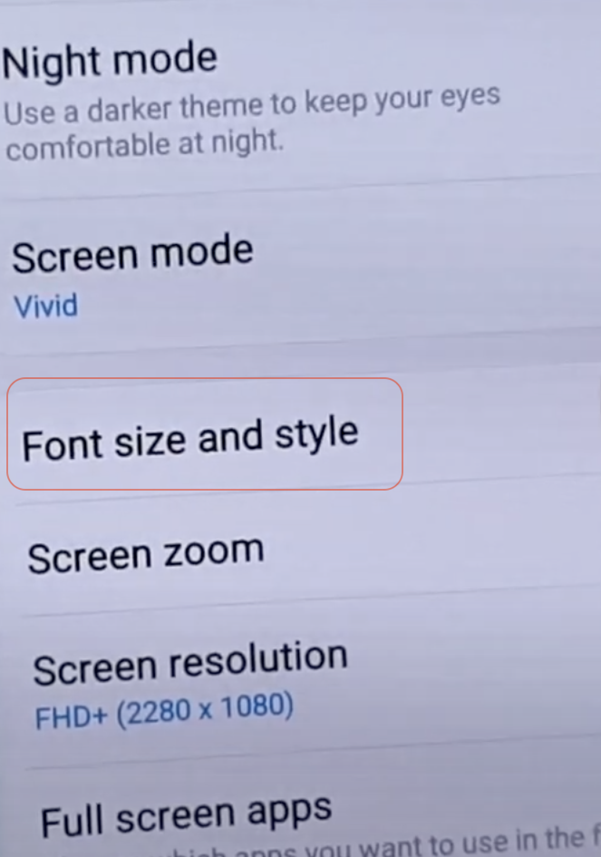 Android font size