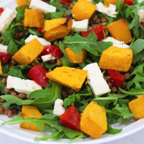 pumpkin feta lentil salad