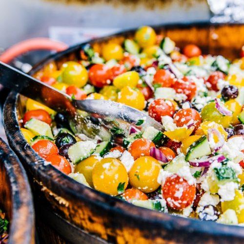 chop greek salad in a bowl