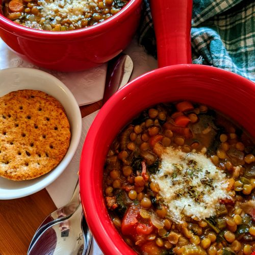lentil soup in a pot