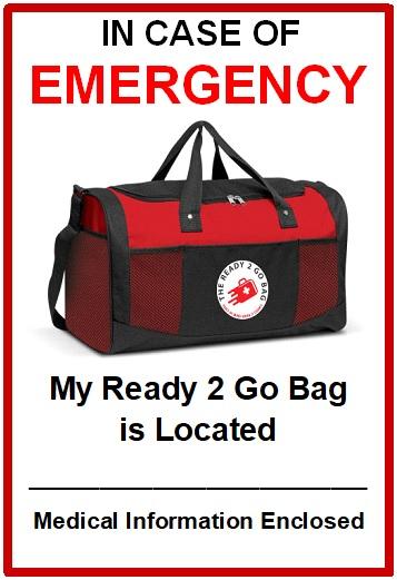 emergency ready 2 go bag postcard